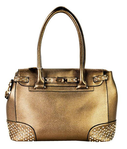 Belted Stud Accent 2 Way Tote Bronze - Ace Trading Co.