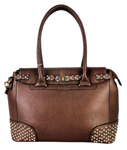Belted Stud Accent 2 Way Tote Coffee - Ace Trading Co.