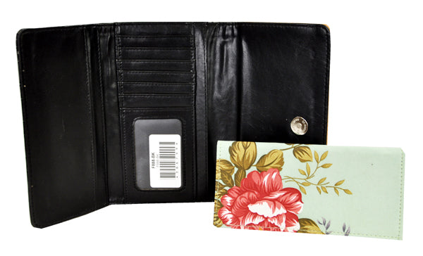 Spring Floral Embroidery Cross Trifold Checkbook Wallet Black - Ace Handbag