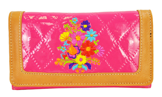 Spring Floral Embroidery Cross Trifold Checkbook Wallet Pink - Ace Handbag