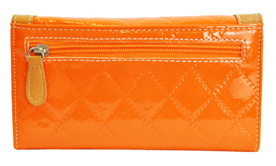 Spring Floral Embroidery Cross Trifold Checkbook Wallet Orange - Ace Handbag