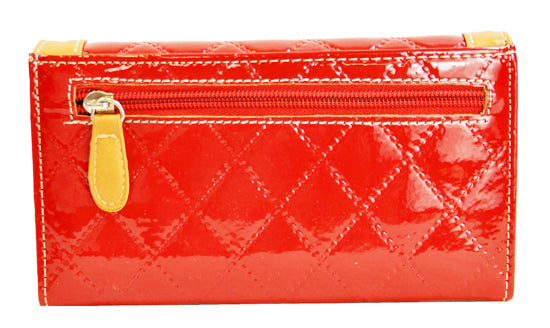 Spring Floral Embroidery Cross Trifold Checkbook Wallet Red - Ace Handbag