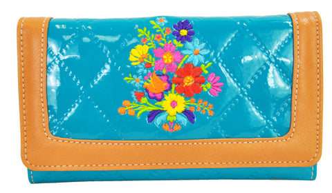 Spring Floral Embroidery Cross Trifold Checkbook Wallet Turquoise