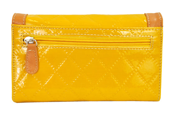Spring Floral Embroidery Cross Trifold Checkbook Wallet Yellow - Ace Handbag