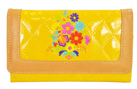 Spring Floral Embroidery Cross Trifold Checkbook Wallet Yellow