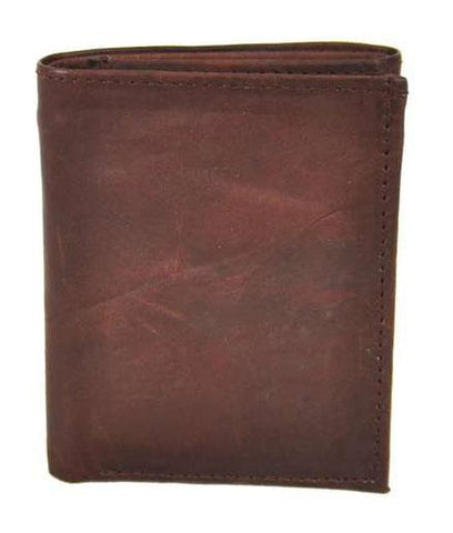 Tri-Fold Men ID Wallet Solid Brown