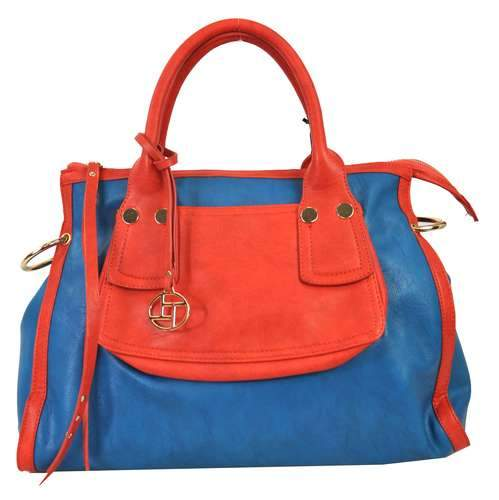 Vivid Color Passion 2 Way Satchel Blue - Ace Handbag