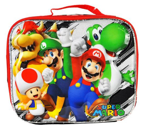 Super Mario Bros Insulated Lunch Bag - Red Brick Luigi Mushroom Boys Snack Box - Ace Trading Co.