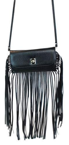 Fashion Fringe Crossbody Bag Black - Ace Trading Co.