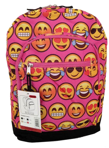 Smiley Emoji 3D Printing School Canvas Backpack Black Pink