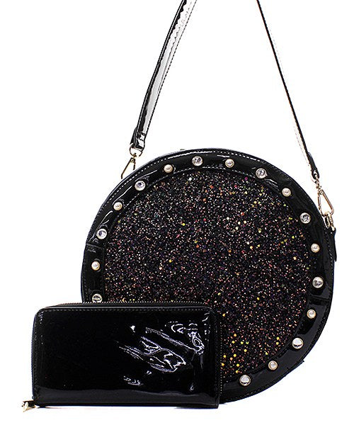 Fashion Glitter Patent 2in1 Round Satchel Black - Ace Handbag