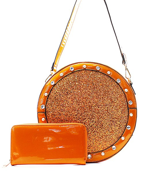 Fashion Glitter Patent 2in1 Round Satchel Orange - Ace Handbag