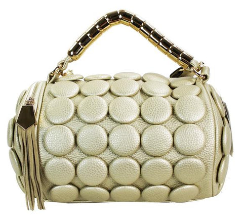 Button Accent Petite Cylindrical Bag Light Gold - Ace Trading Co.