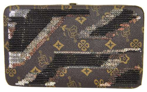 Sequin Monogram Carrousel Flat Hardcase Wallet Brown - Ace Handbag