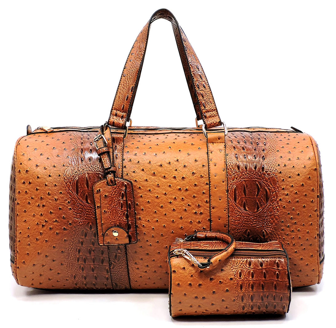 2in1 Ostrich Crocs Duffle & Makeup Pouch Set Cognac - Ace Handbag