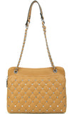 Soft Quilt Padding Multi Pocket Crossbody Bag w/Stud Brown - Ace Trading Co.