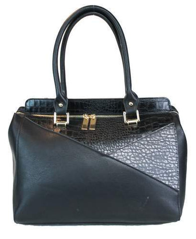 Two Tone Design Shoulder Tote Black - Ace Trading Co.