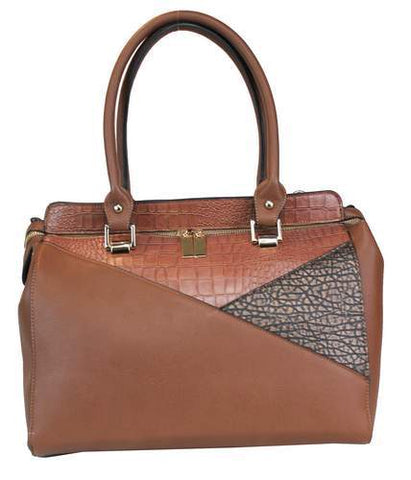 Two Tone Design Shoulder Tote Brown - Ace Trading Co.