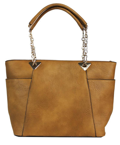 Elegant Boho Shoulder Bag with Chained Strap Brown