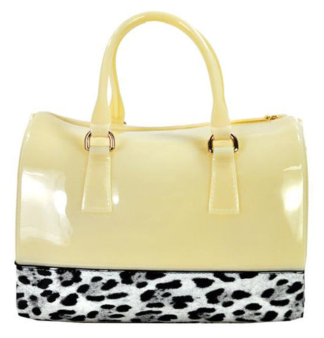 High Gloss Candy Color Jelly Bag Safari Leopard Accent Shoulder Tote Beige - Ace Trading Co.