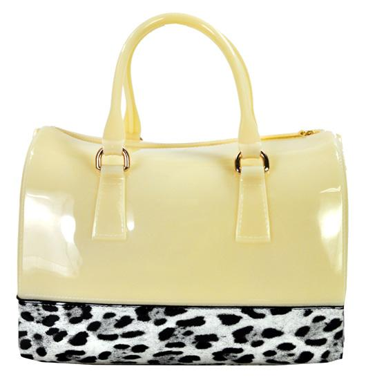 High Gloss Candy Color Jelly Bag Leopard Accent Shoulder Tote Beige - Ace Handbag