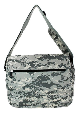 East West 600D Polyester Kids School Messenger Book Bag Cool Water PlaidACU Camo - Ace Trading Co.