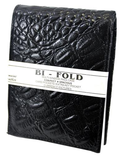 Bi-Fold Crocs Wallet Black - Ace Handbag