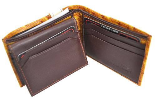 Bi-Fold Ostrich Wallet Brown - Ace Handbag