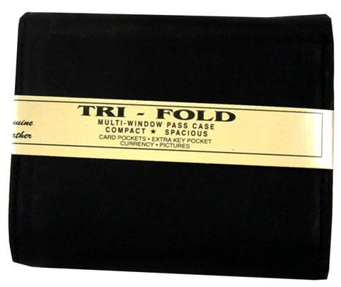 Tri-Fold Plain Wallet Black - Ace Trading Co.