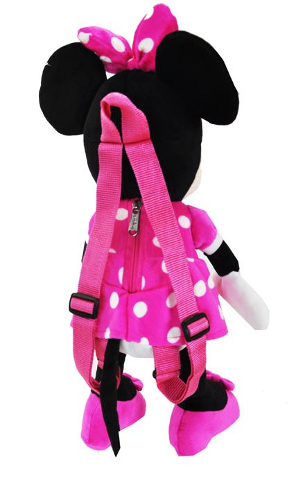 "Disney Clubhouse Pink Minnie Mouse Large 16"" Plush Doll Backpack - Ace Handbag"