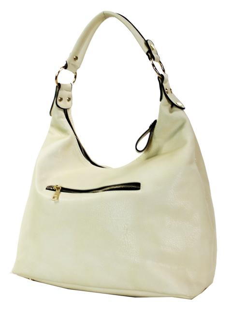 Twist Lock Accent Hobo Purse Cream - Ace Handbag