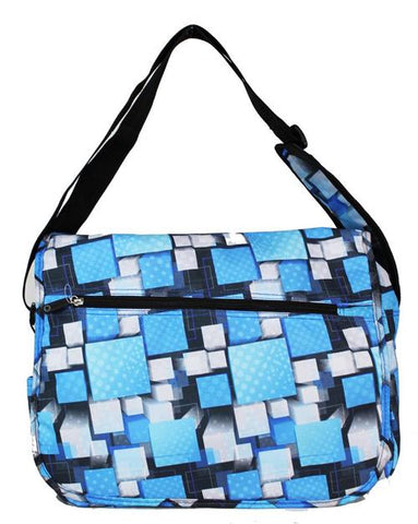 East West 600D Polyester Kids School Messenger Book Bag Blue Square - Ace Trading Co.