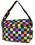 East West 600D Polyester Kids School Messenger Book Bag Rainbow Checker - Ace Trading Co.