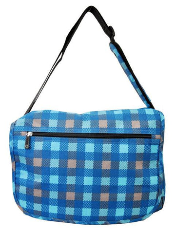 East West 600D Polyester Kids School Messenger Book Bag Cool Water Plaid - Ace Trading Co.