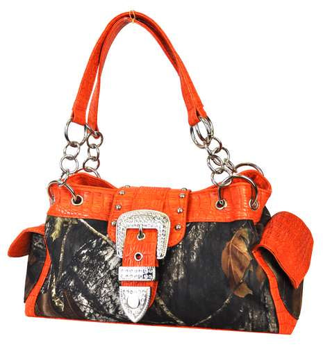 Mossy Oak® Camo Rhinestone Western Belt Satchel Orange - Ace Handbag