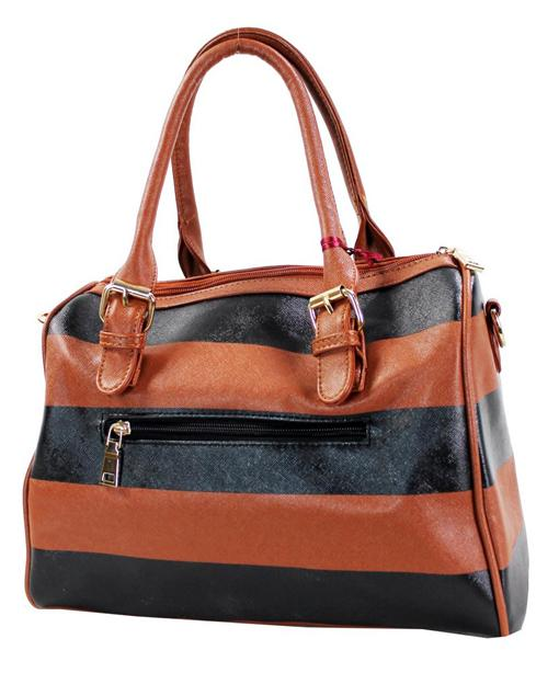 Retro Stripe Leatherette 2 Way Boston Tote Brown - Ace Handbag