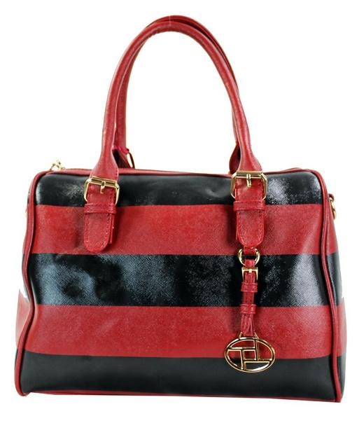 Retro Stripe Leatherette 2 Way Boston Tote Red - Ace Handbag