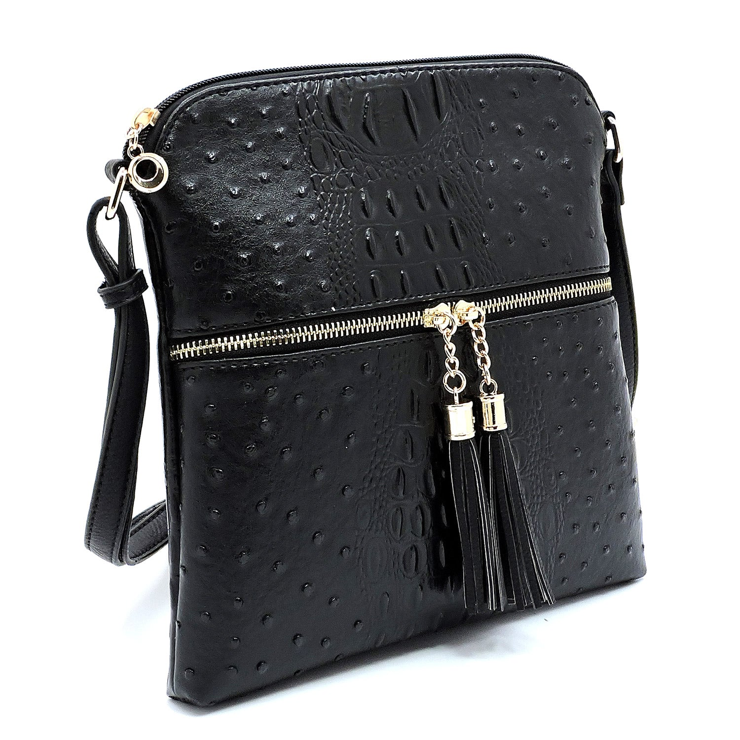 Ostrich Zip Tassel Messenger Black - Ace Handbag