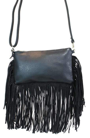 Western Fringed Shoulder Bag Black