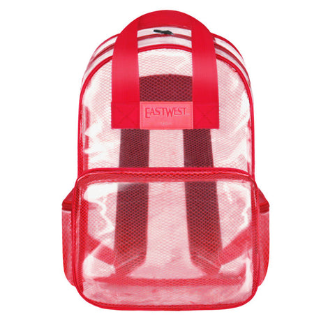 "Clear Transparent Large 16"" School Backpack Security Bag Red - Ace Trading Co."