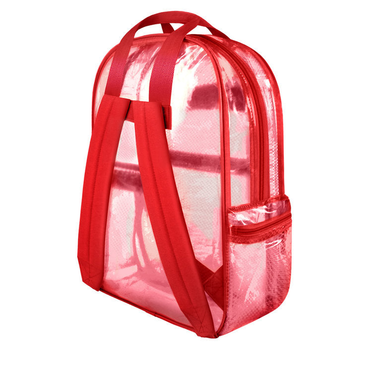 "Clear Mesh  Large 16"" Backpack Security Bag Red - Ace Handbag"