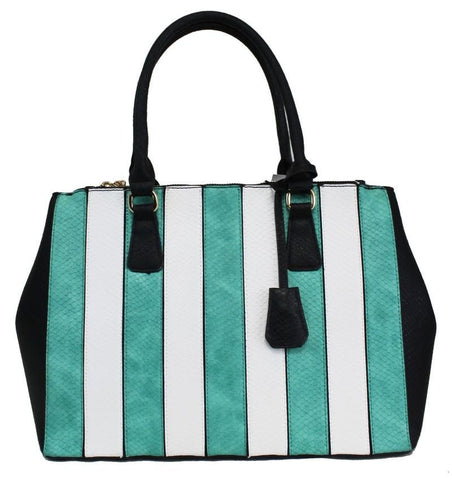 2 In 1 Fashion Retro Stripe Chic Tote Bag Light Green - Ace Trading Co.