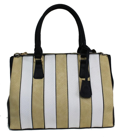 2 In 1 Fashion Retro Stripe Chic Tote Bag Light Tan - Ace Trading Co.