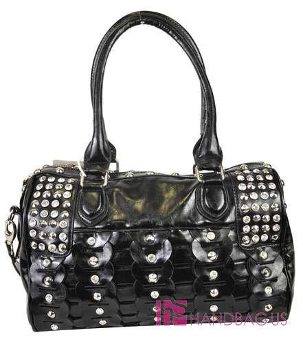 Sundae Sky® Rhinestone & Stud Boston Tote Black - Ace Handbag