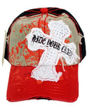 Distressed Rhinestone Cross Baseball Cap Hide Your Crazy Cadet Hat Red - Ace Trading Co.