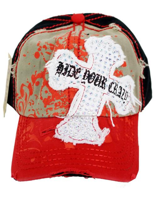 Distressed Rhinestone Cross Baseball Cap Hide Your Crazy Red - Ace Handbag