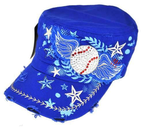 Distressed Rhinestone Baseball All Stars Fan Cap Castro Cadet w/ Wings Blue - Ace Trading Co.