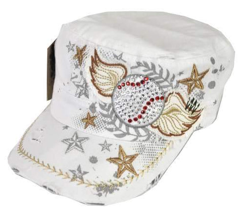 Distressed Rhinestone Baseball All Stars Fan Cap Castro Cadet w/ Wings White - Ace Trading Co.