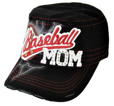 Bling Rhinestone Baseball MOM Military Stud Cadet Cap Hat Distressed Black - Ace Trading Co.