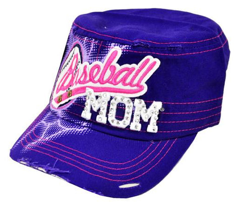Bling Rhinestone Baseball MOM Military Stud Cadet Cap Hat Distressed Purple - Ace Trading Co.